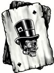 B&W Ace Playing cards With Old School Gentleman Hipster Skull Motif Vinyl Car Sticker 100x75mm